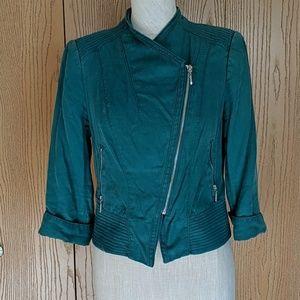 White House Black Market Jackets & Coats - WHBM Green Linen Moto Blazer